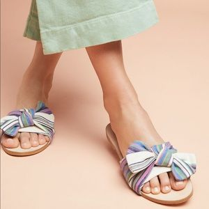 Anthropologie Striped + Knotted Sandals